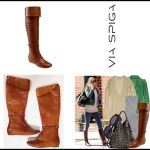 Via spiga leather over the knee flat riding boots